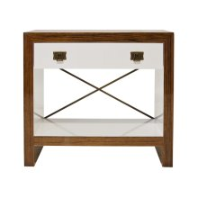 Hardwood Veneer Covered Side Table With White Lacquer Drawer and Antique Brass Hardware and Decorative Crossbar. Drawer On Glides.