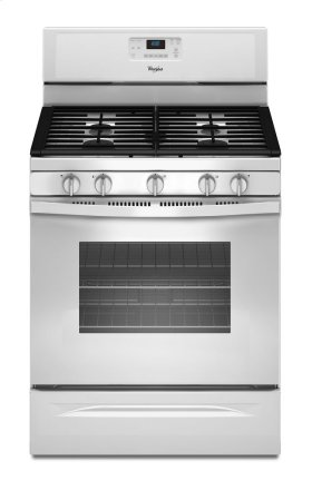 Closeout, While Supplies Last, Whirlpool 5.0 cu. ft. convection gas range and microhood in white.