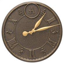 """Monogram 16"""" Indoor Outdoor Wall Clock - French Bronze"""