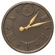 "Monogram 16"" Indoor Outdoor Wall Clock - French Bronze"