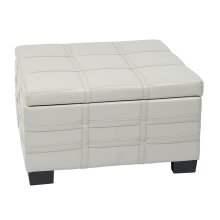 Detour Strap Ottoman With Tray In Cream Bonded Leather