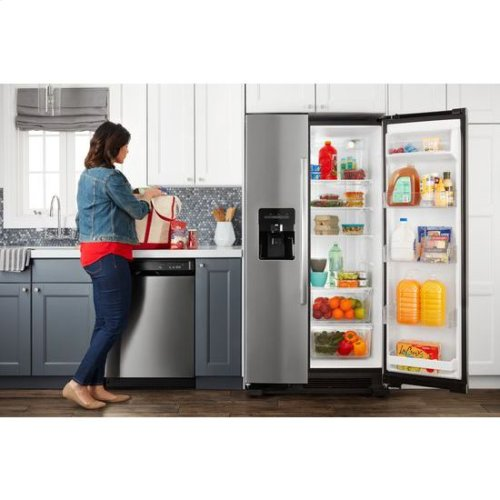 36-inch Side-by-Side Refrigerator with Dual Pad External Ice and Water Dispenser - stainless steel