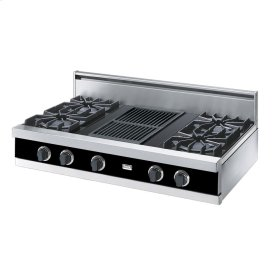 "Black 42"" Open Burner Rangetop - VGRT (42"" wide, four burners 12"" wide char-grill)"