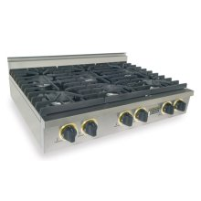 """36"""" Six Burner Gas Cooktop, Sealed Burners, Stainless Steel with Brass"""
