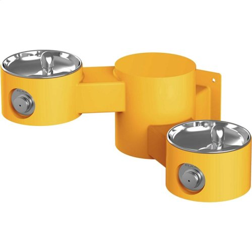 Elkay Outdoor Drinking Fountain Wall Mount, Bi-Level, Non-Filtered Non-Refrigerated, Yellow