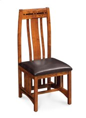 Aspen Side Chair with Lower Back, Asphalt Leather, Cherry #26 Michael's