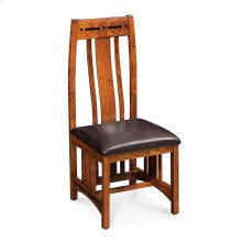 Aspen Side Chair with Lower Back, Asphalt Leather, Cherry