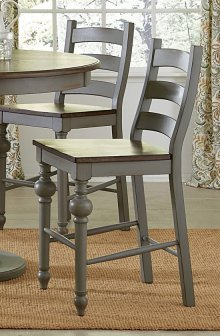 Ladder Counter Chair (2/Ctn) - Putty/Oak Finish