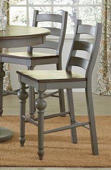 Ladder Counter Chair (2/Ctn) - Weathered Grey/Oak Finish