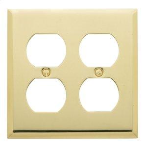 Polished Brass Beveled Edge Double Duplex Product Image