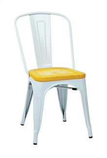 Bristow Metal Chair With Vintage Wood Seat, White Finish Frame & Ash Yellowstone Finish Seat, 2-pack