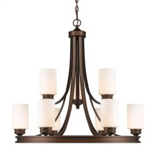Hidalgo Nine Light Chandelier in the Sovereign Bronze finish with Opal Glass