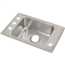 "Elkay Lustertone Classic Stainless Steel 25"" x 17"" x 7-5/8"", Single Bowl Drop-in Classroom Sink"
