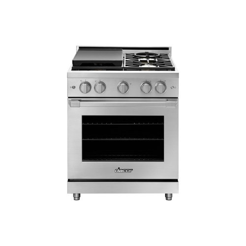 "30"" Heritage Gas Pro Range, Silver Stainless Steel, Liquid Propane/High Altitude"