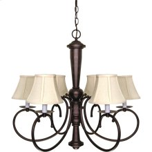 "6-Light 27"" Old Bronze Chandelier with Natural Linen Shades"