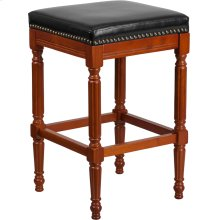 30'' High Backless Light Cherry Wood Barstool with Spindle Legs and Black Leather Seat