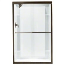 "Finesse™ Frameless Sliding Shower Door - Height 70-1/16"", Max. Opening 47-5/8"" - Deep Bronze with Smooth Clear Glass Texture"