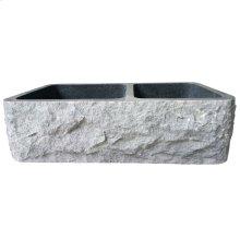"Brandi Double Bowl Granite Farmer Sink - 36"" - Polished Blue Gray"