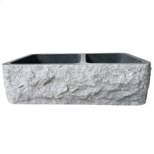 "Brandi Double Bowl Granite Farmer Sink - 36"" - Polished Blue Gray"
