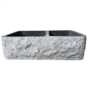 "Brandi Double Bowl Granite Farmer Sink - 36"" - Polished Blue Gray Product Image"