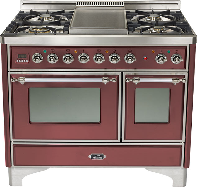 "Burgundy 40"" 6 Burner Majestic Techno Dual Fuel Range
