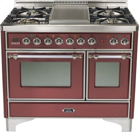 "Burgundy 40"" 6 Burner Majestic Techno Dual Fuel Range"