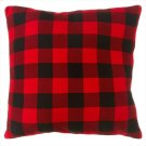 Oversized Buffalo Plaid Knit Floor Pillow with Leather Handle. Product Image