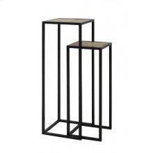 Side table S/2 30x30x80+35x35x100 cm PUYO wood natural+black