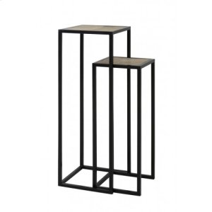 Side table S/2 30x30x80+35x35x100 cm PUYO wood natural+black