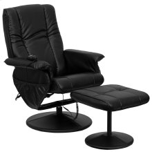 Massaging Multi-Position Recliner and Ottoman with Wrapped Base in Black Leather