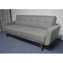 Mid-century Modern Grey and Walnut Sofa Bed