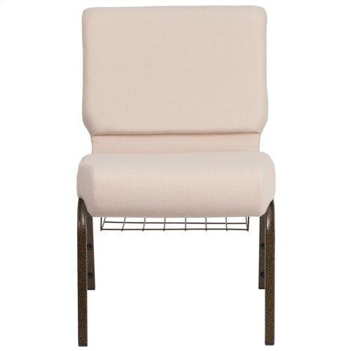 HERCULES Series 21''W Church Chair in Beige Fabric with Cup Book Rack - Gold Vein Frame
