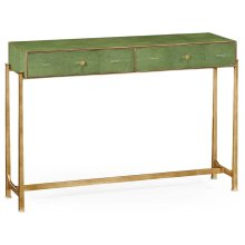 Green Faux Shagreen & Gilded Console