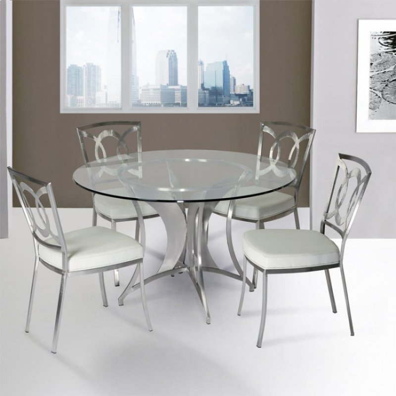 Drake Modern Dining Table In Stainless Steel With Clear Tempered Gl