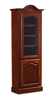 "Classic Arch Top Narrow Bookcase, Glass Doors on Top and Wood Doors on Bottom, Classic Arch Top Narrow Bookcase, Glass Doors on Top and Wood Doors on Bottom, 3-Adjustable Shelves, 27""w"