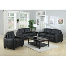 Jasmine Casual Black Three-piece Living Room Set