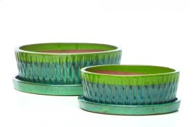 Tartain Bowl w/ saucer, Green and Blue - Set of 2