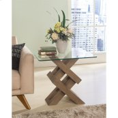 Mirabelle - Glass Top Side Table - Ecru Finish