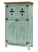 Turquoise 2 Door Cabinet W/Cross Product Image