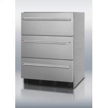 Outdoor three-drawer beverage refrigerator in complete stainless steel
