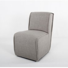 Contemporary slipper dining chair w/ fluted welts and casters