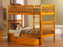 Woodland Bunk Bed Twin over Twin with Flat Panel Bed Drawers in Caramel Latte