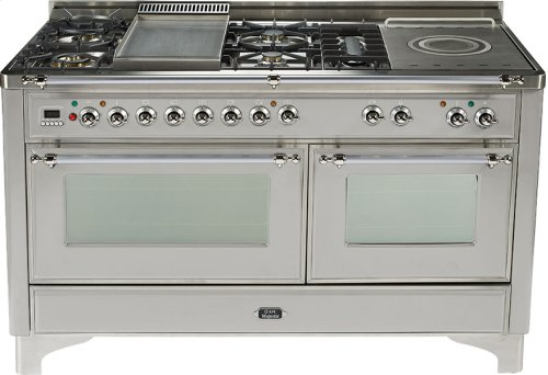Stainless Steel with Chrome trim - Majestic 60-inch Range with Griddle