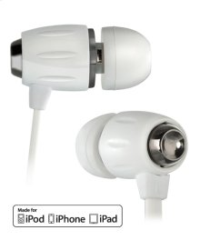White in-ear stereo headphones by Bell'O Digital with Apple® remote and slim protective case