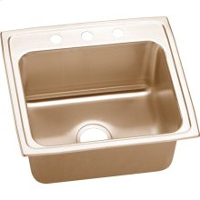 "Elkay CuVerro Antimicrobial Copper 22"" x 19-1/2"" x 10-1/8"", Single Bowl Drop-in Sink"