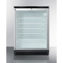 """Commercially Listed Built-in Undercounter Beverage Center In 24"""" Footprint, With Black Cabinet, Glass Door, Full-length Stainless Steel Handle, and Lock"""