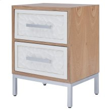 Montez Flagstone Pattern Small Cabinet 2 Drawers Silver Frame, White/Natural