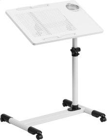 White Adjustable Height Steel Mobile Computer Desk