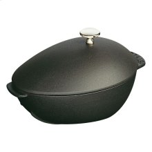 Staub Cast Iron 10-inch oval Enamel Mussel pot, Black