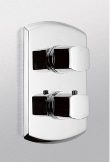 Brushed Nickel Soirèe® Thermostatic Mixing Valve Trim with Dual Volume Control